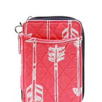 Quilted Wristlet Wallet Arrow Print - 4 Color Choices