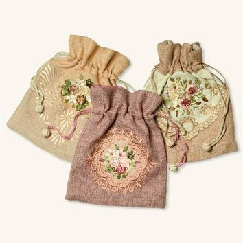 Hand Embroidered Pouches (Set Of 3)