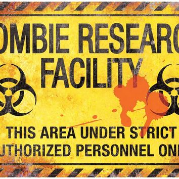 Metal Sign Zombie Research Face