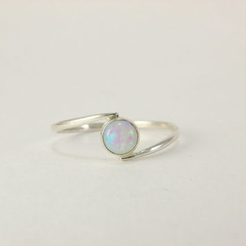 silver white opal ring,Sterling silver opal ring,Gemstone white opal,opal ring,Silver opal ring,Silver stacking ring,white opal,white stone