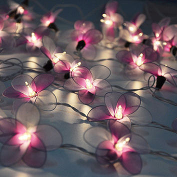 Purple & White flower string lights for Patio,Wedding,Party and Decoration (20 bulbs)