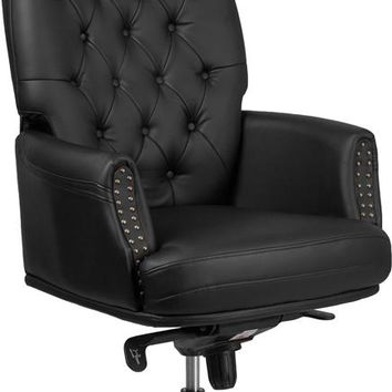 High Back Traditional Tufted Black Leather Multifunction Executive Swivel Ergonomic Office Chair with Arms [BT-90269H-BK-GG]