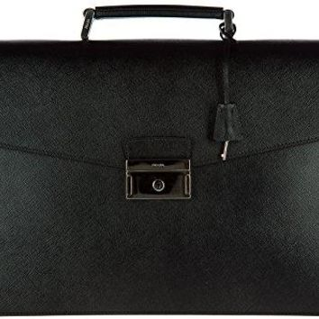 Prada briefcase attaché case laptop pc bag leather saffiano black