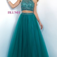 Long Ball Gown Style Two Piece Halter Prom Dress by Blush