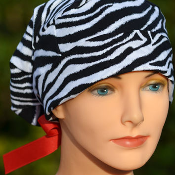 Animal Print Surgical Scrub Hat- Perfect Fit Tie Back with Ribbon Ties- Zebra