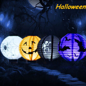 1pcs Halloween Decoration LED Paper Pumpkin Light Hanging Lantern Lamp Halloween Props Outdoor Lampion Party Supplies