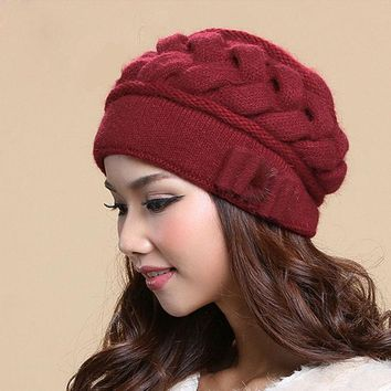 VONESC6 Winter Cap Female Fashion Wool Caps Thermal Warm Double Layer Knitted Rabbit Hair Women Hats Ear Protection Beanies Gorros Gorro