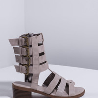 Quad Buckle Caged Sandals - Taupe
