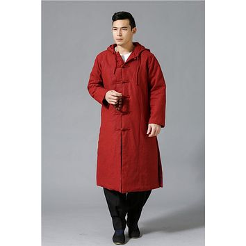The coolest ethnic trend fashion wind breaker raincoat mianyiwaitao jacket coat Long Trench Coat Men Overcoat Large Size 6colors