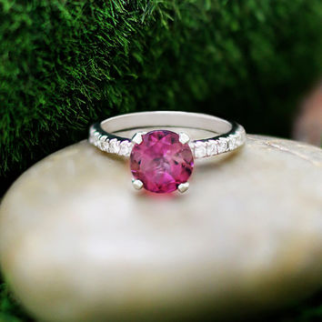 Pink Tourmaline, Solid White Gold Engagement Ring (Free Shipping)
