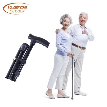 YUETOR OUTDOOR T handle Telescopic Black  folding Walking Sticks Aluminum Alloy Trekking Hiking Poles Trekking Poles for elder