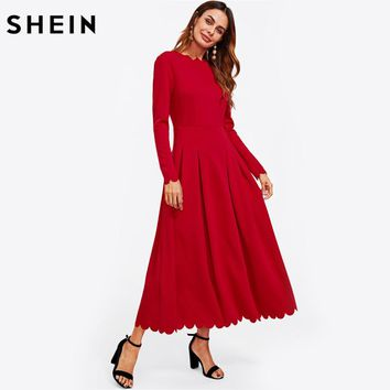 Scallop Edge Boxed Pleated Fit and Flare Dress Long Sleeve Maxi Dress Zipper Back Red Elegant A Line Dress