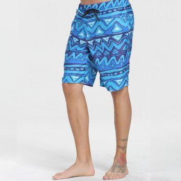 Fast Dry Plus Size Men's Board Shorts Swimming Trunks Beach Surf Hawaiian Shorts Water Sportswear Blue Plaid 3XL Free Shipping