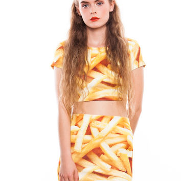 FRIES TOP SKIRT set 2 pieces pack pencil skirt crop t shirt funny fashion swag tumblr boho hipster womens vtg grunge girl french food junk