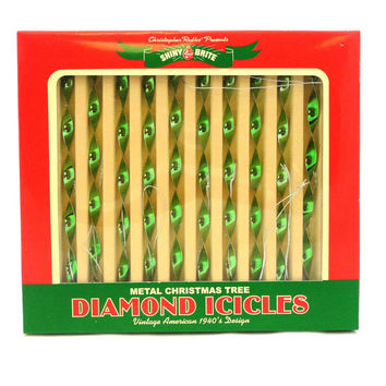 Christopher Radko Vintage Diamond Icicles Green Boxed Glass Ornaments