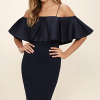 Elliatt Impressionist Navy Blue Off-the-Shoulder Midi Dress