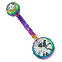 Double Jeweled RAINBOW Anodized Steel Navel Belly Button Ring