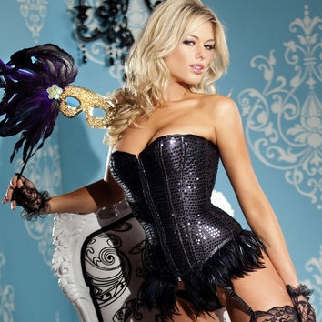 Feather Trimmed Sequin Corset