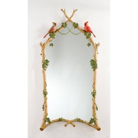 """22"""" x 44.5"""" Hand Painted Twig & Ivy with Cardinals Mirror"""