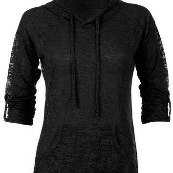 Womens Pullover Hoodie, Sheer, Long Sleeves with Kangaroo Pocket, Drawstring Neck