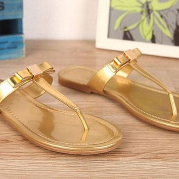 JXW02 Gold Color Thong Sandals Boho Flat Heel Slippers Metal Buckle Patent Leather Summer Beach Flip Flops Women Shoes Sz 35-40