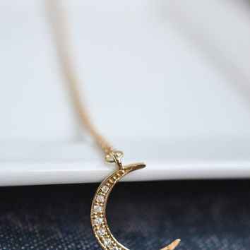Dainty Moon Necklace, Bohemian Necklace, Gypsy Jewelry, Layering Necklace, Gold Moon Jewelry
