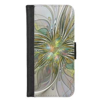 Floral Fantasy Modern Fractal Art Flower With Gold iPhone 8/7 Wallet Case