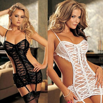 Women's Sexy Lingerie Lace Dress Underwear  Babydoll Sleepwear G-string = 1932312388