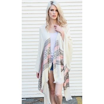 Pink & Ivory Woven Moroccan Frayed Edge Kimono Scarf