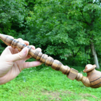 Dark smoking pipe tobacco pipe wooden wood pipe smoking bowl unique pipe hobbit pipe gandalf churchwarden sherlock wizard cute cool pipe