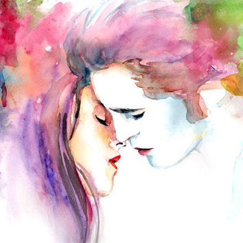 Watercolor painting  Twilight Bella and Edward by sookimstudio