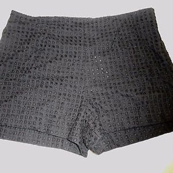 Who What Wear Women's Checker Textured Shorts, 16, Black