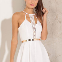 White Lace Patchwork Chiffon Prom Dress
