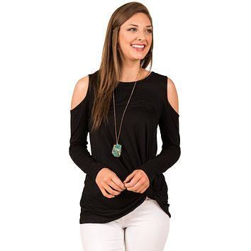 Black Cold Shoulder Knotted Hem Blouse Top