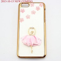 bling 3D diamond clear crown shoe girl eiffel hard back Case cover for Iphone 5C (girl flower pink)