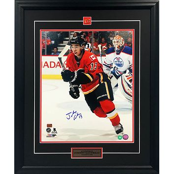 JOHNNY GAUDREAU AUTOGRAPHED FRAMED COLLECTOR PHOTO - 16X20 - CALGARY FLAMES