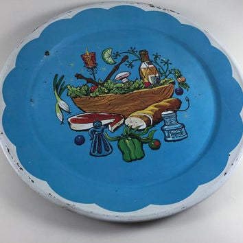 Vintage Serving Tray Blue Metal Platter With Vintage Graphics 1950's Illustrations Retro Kitchen Decor Wall Hanging BBQ Picnic Tray