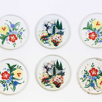 Set of 6 Vintage Metal Floral Coasters