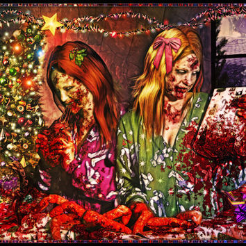 Zombie Girl Poster - Zombie Christmas -