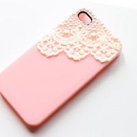 Lace iPhone 4 Case - Pink Lace iPhone Case