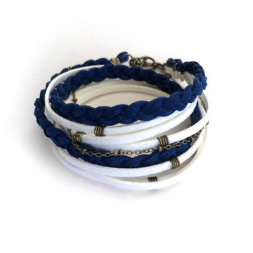 Suede Wrap Bracelet Navy Blue and White Braided Nautical Boho Friendship