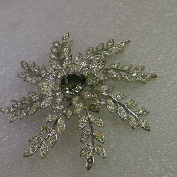 Vintage Rhinestone Floral Brooch, Sarah Coventry, Silvertone, Domed, Estate Vintage Jewelry