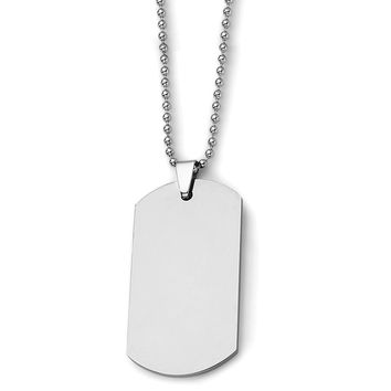 Men's Tungsten Polished Dog Tag 24 inch Necklace