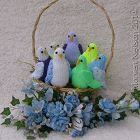 Hand-knitted toy Budgie