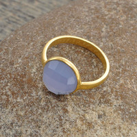 Lavender Chalcedony Beautiful 10mm Round Faceted Micron Gold Plated 925 Sterling Silver Bezel Ring - #1025