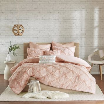 Calee Pink 7PC Pintuck Comforter Set