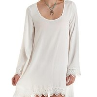 Ivory Crochet-Trim Long Sleeve Shift Dress by Charlotte Russe