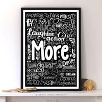More laughter, Fun, love, friends, action and many more inspirational Typography Quotes poster For Wall Decor