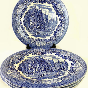English Ironstone Blue and White Plates, EIT Dickens Series, Set of 4 Dinner Plates