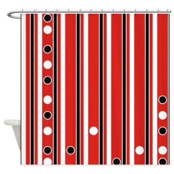Stripes And Dots Black Red White Shower Curtain> Polka Dotted Shower Curtains> Shower Curtains